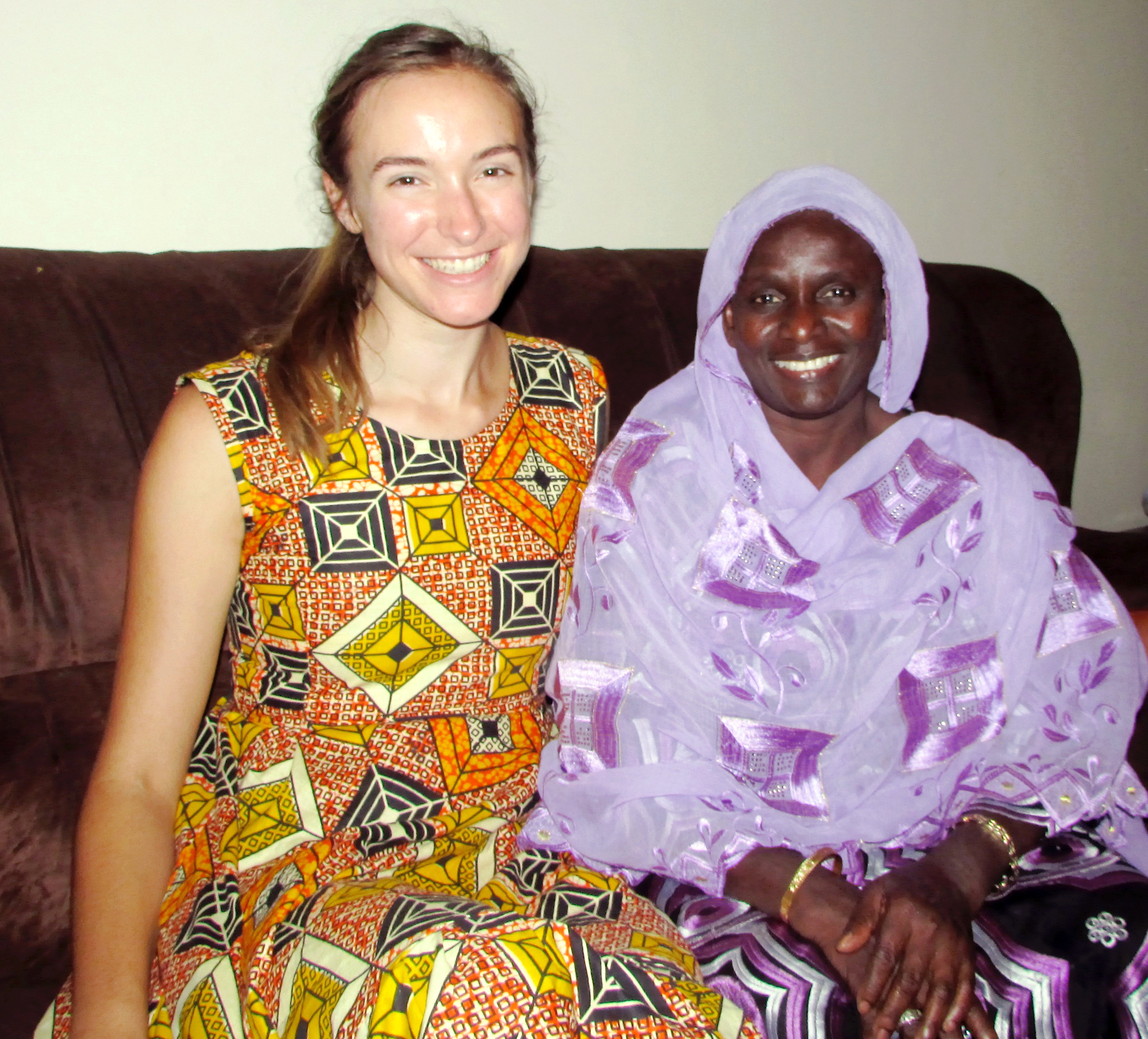 Hoffman and her host mother in Senegal