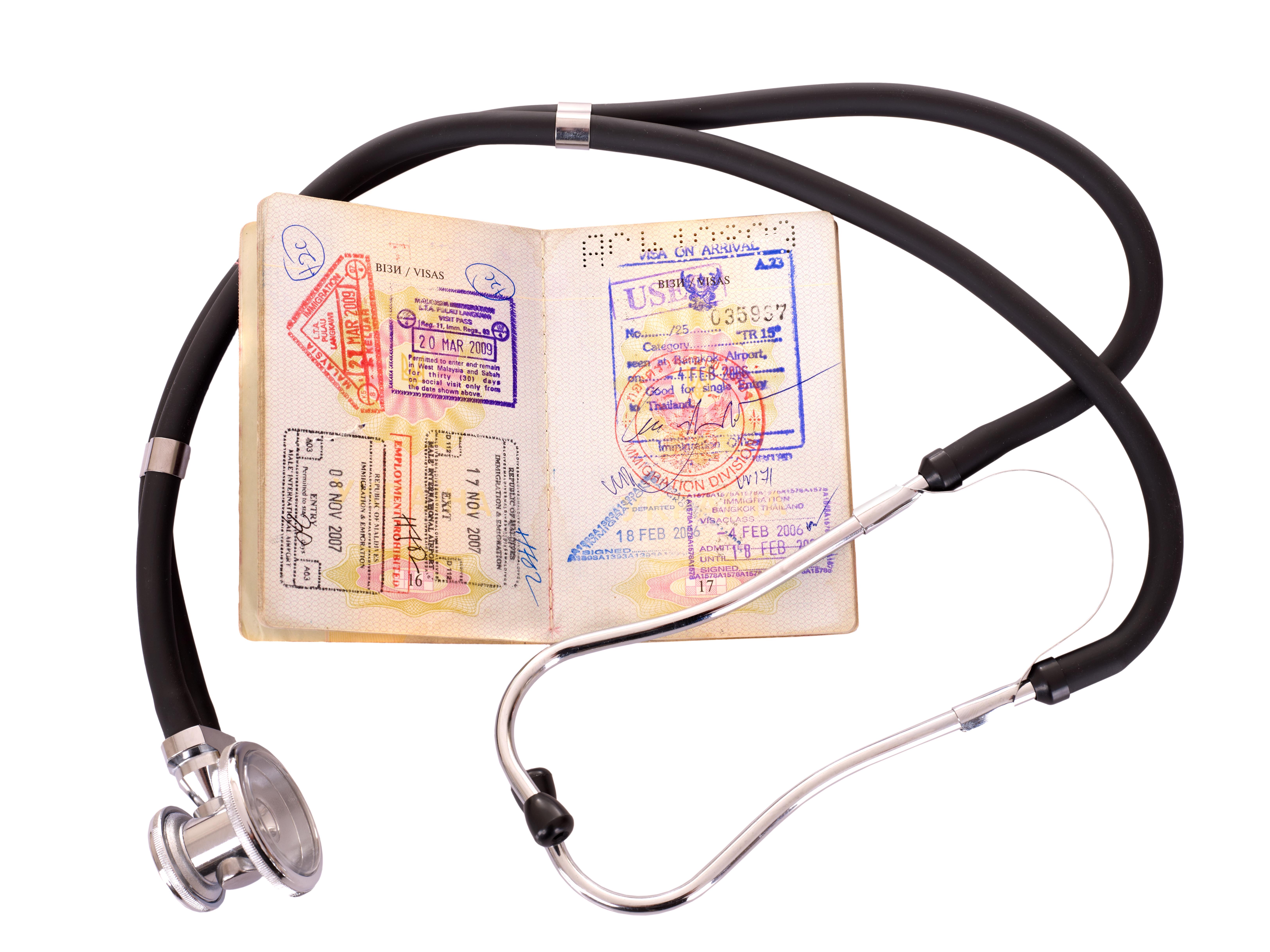 stethoscope and passport