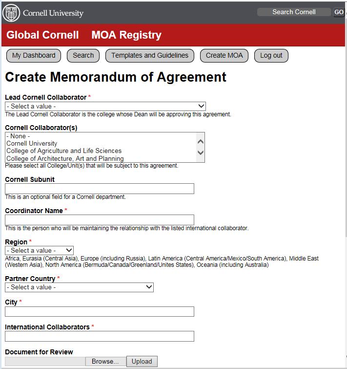 Moa Registry Global Cornell