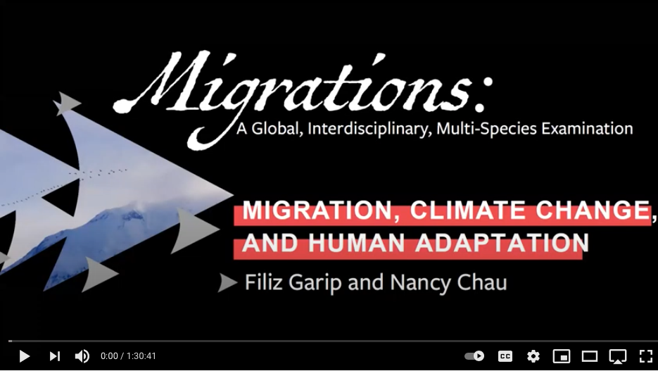 First frame of a video with the Migrations logo and says Migration, Climate Change and Human Adaptatiion