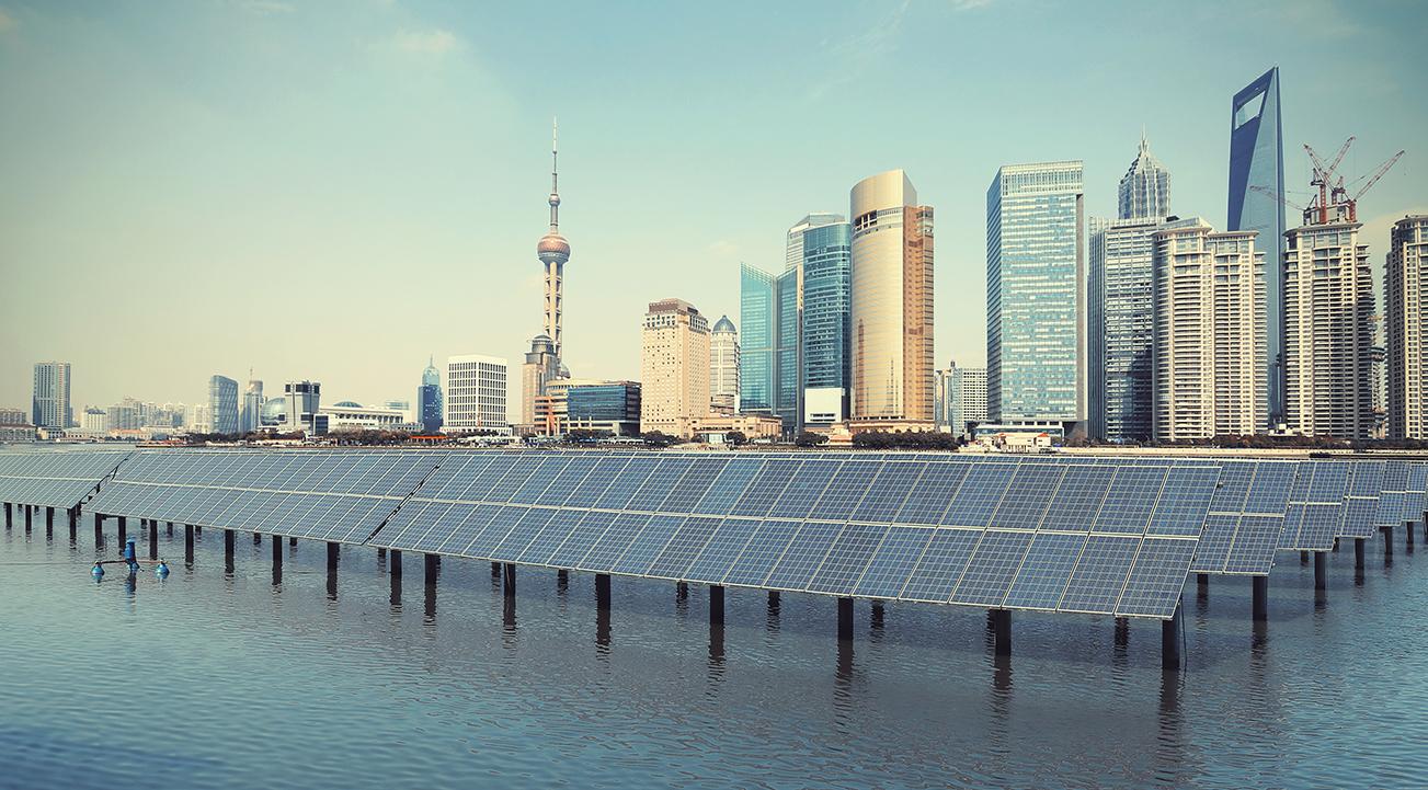 Solar panels at the Bund in Shanghai